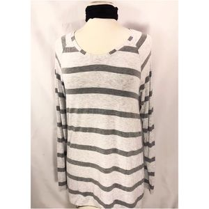 CAbi Heathered Grey Striped Long Sleeve Style #940